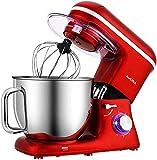 Aucma Impastatrice Planetaria Offerta 1400W, Robot da Cucina Grandi Mixer, Miscelatore Cucina 7L, 6 Velocità Elettrico Robot da Cucina Multifunzione con Gancio Impastatore, Frusta, Sbattitore, Rosso
