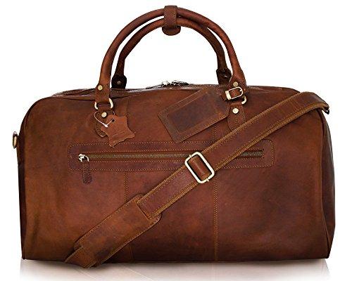 Vintage Leder Reisetasche, Wochenendetasche, Echtes Geöltes Büffelleder