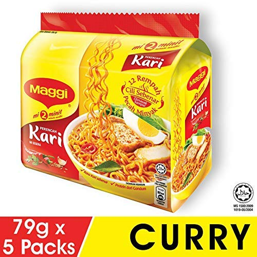 Maggi Nestle Malaysia 2 Minuten Instant Curry Aroma Masala Nudeln 5 Packungen x 79 g Kari würzige Pedas Mee Chilisuppe Malaysia Halal Food Snacks