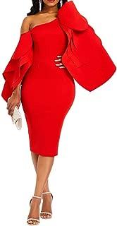 Bodycon Dress for Woman Long Sleeve Knee-Length Ruffle Sleeve Off Shoulder Evening Dress