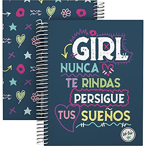 Grafoplás 16512620. Cuaderno A5, Espiral, Tapa Dura Cartón Forrado, Cuadricula 5x5, Certificado FSC, Colección Sé Tú, Girl