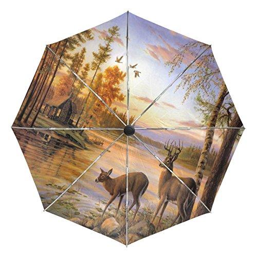 TIZORAX Vredige blokhut hert vliegende vogel winddicht opvouwbare regen Reizen luifel paraplu Auto Open Sluit Knop