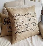 Sp567encer, funda de almohada de arpillera con poema francés negro natural