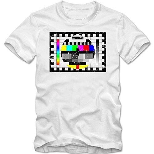 Testscreen T-Shirt | Herren | Fernseher | Testbild | TV | XS-5XL, Farbe:weiß (White);Größe:XL