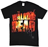 Walking Dead The Two Fire Logo Adult T-Shirt, X-large,black, X-Large
