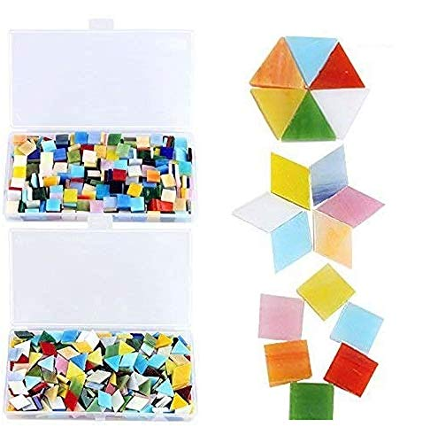 800 Pieces Mixed Color Mosaic Tiles Mosaic Glass Pieces with Organizing Container for Home Decoration or DIY Crafts, Square,Triangle, rhombus, Aunifun