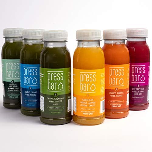 5 Tage Saftkur von pressbar - 30 Flaschen - 6 verschiedene Säfte pro Tag. Kaltgepresste Säfte für Deine Kur - hochwertige natürliche Obst & Gemüse Säfte – Achtung: Kühlware, nach Erhalt sofort kühlen