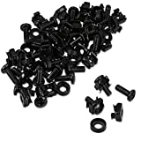 kwmobile 50 Pack M6 Cage Nuts, Bolts and Washers Kit - For Patch Panel Rack Mount Equipment Data Network Cabinets Size 19 Inch and 10 Inch - Black