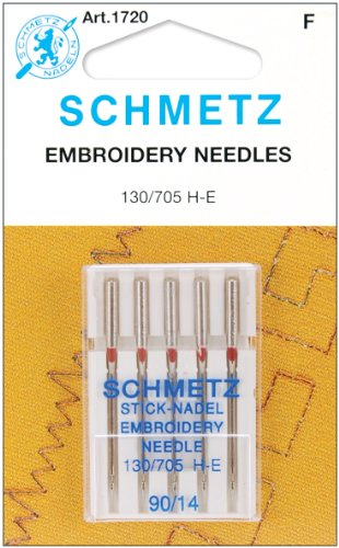 25 Schmetz Embroidery Sewing Machine Needles 130/705H H-E Size 90/14