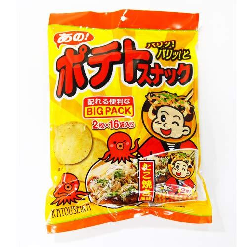 かとう製菓 ポテトスナックたこ焼風味Bigpack 32枚(2枚×16袋)