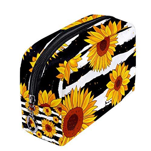 Shiiny Sunflowers Trousse à maquillage étanche multifonction pour femme Motif tournesols