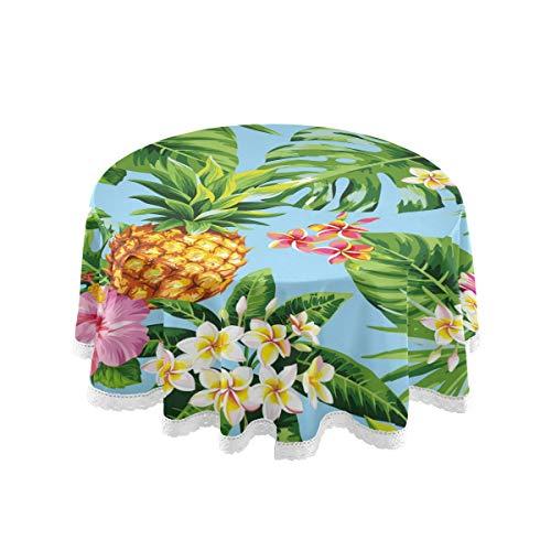 SunsetTrip - Mantel redondo, diseño de hojas de piña y flores