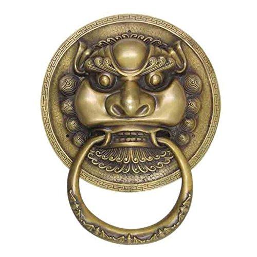 Manija de puerta,Clásico chino Manija de puerta Aldaba de latón Animal cabeza de cobre de la manija Manija de puerta Perilla clásica Aldaba-A
