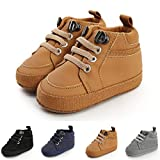 BENHERO Baby Boys Girls Oxford Shoes Soft Sole PU Leather Moccasins Infant Toddler First Walkers Crib Dress Shoes Sneaker (6-12 Months Infant, H/Brown)