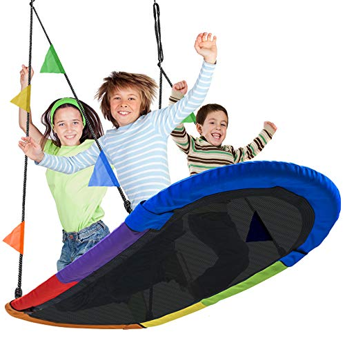 Sorbus Saucer Swing Surf – Kids Indoor/Outdoor Giant Oval Platform Swing Mat – Great for Tree, Swing Set, Backyard, Playground, Playroom – Accessories Included – Multi-Color Rainbow (Oval Surf Swing)