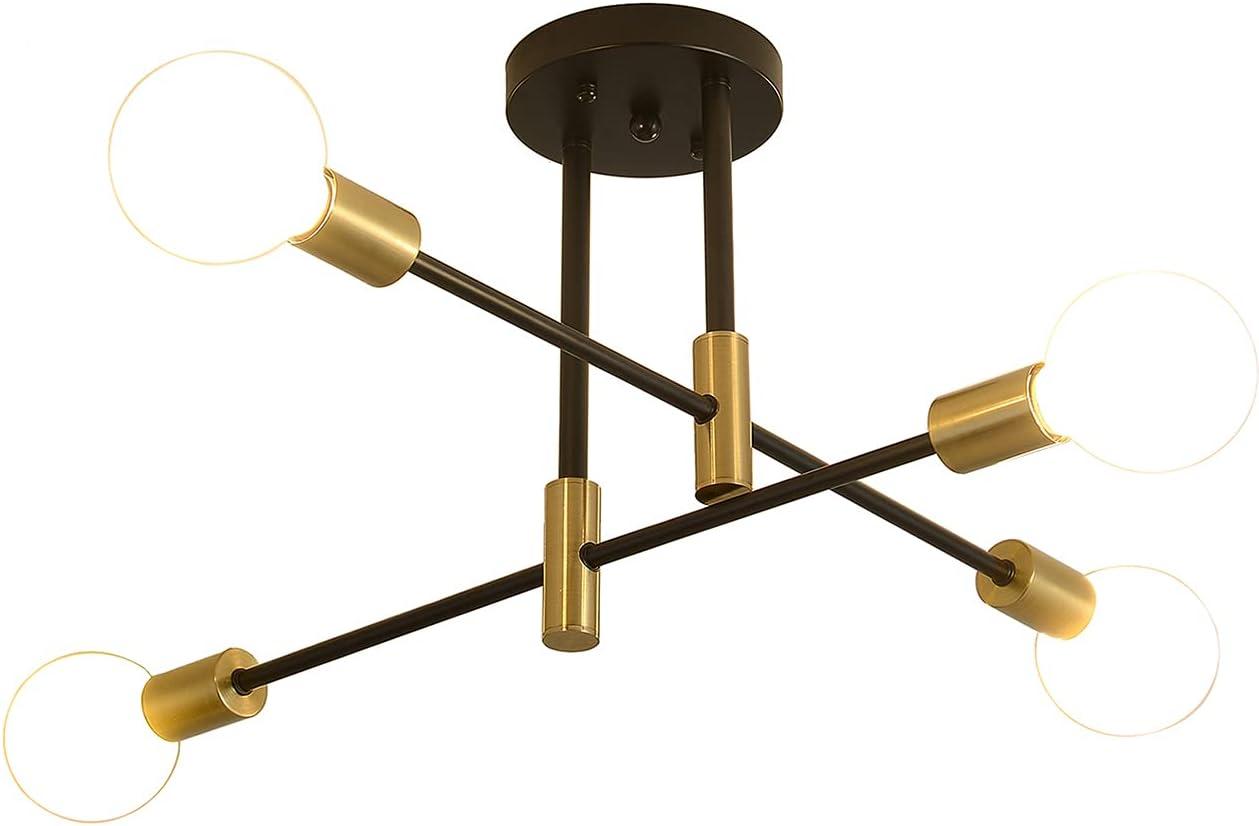 Mid-Century Modern Sputnik Chandeliers Light Fixtures, Semi Flush Mount Ceiling Light Lamps for Living Room Bedroom Adjustable Arm E26 Industrial Pendant Lighting Easy to Install ( 4-Lights)