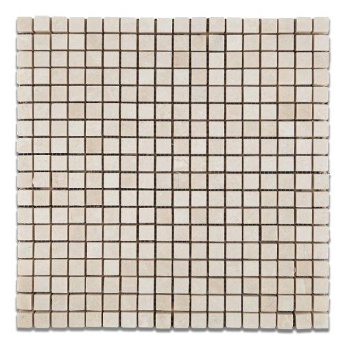 "White Pearl / Botticino Marble 5/8 X 5/8 Polished Mosaic Tile - 6"" X 6"" Sample"