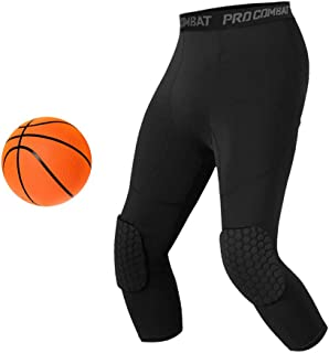 Unlimit Basketball Pants with Knee Pads,  Black Basketball Knee Pads Within Basketball Compression Pants,  3/4 Capri Compression Tights Leggings for Youth,  Men and Women