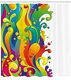 ABAKUHAUS Psychedelisch Duschvorhang, Regenbogen-Spritzen, mit 12 Ringe Set Wasserdicht Stielvoll Modern Farbfest & Schimmel Resistent, 175x180 cm, Mehrfarbig