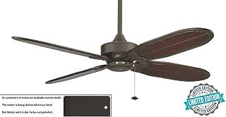 CASA BRUNO ventilador de techo Windpointe 'Marbella' - edición limitada, Ø 152 cms, marrón óxido, con aspas de madera