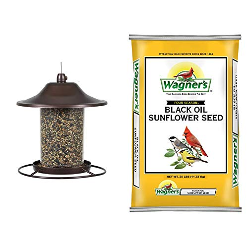 Perky-Pet 1 312 Panorama Bird Feeder, Small, 2 lbs, Brown & Wagner's 76027 Black Oil Sunflower Wild Bird Food, 25-Pound Bag