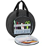 CURMIO Embroidery Bag, Portable Carrying Bag for Embroidery Project and Cross Stitch Tools Kits Supplies, Bag ONLY, Black (Patented Design)