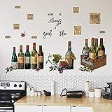 decalmile Stickers Muraux Cuisine Bouteille De Vin Autocollant Mural Citations et Lettres Décoration Murale Cuisine Salle à Manger Restaurant Placard
