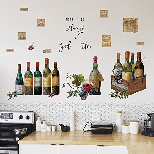 decalmile Wine Bottle Kitchen Wall Decals Quotes WINE IS Always A good Idea Wall Stickers Dining Room Living Room Bar Wall Decor