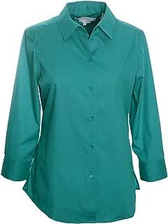 Foxcroft Woman's 3/4 Sleeve Solid Blouse Wrinkle Free (Deep Peacock, 14)