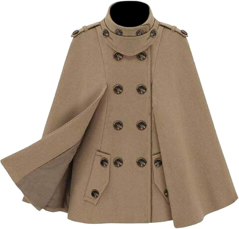 BU2H Womens Winter Cloak Shawl Wool Blend Stand Collar Outwear Coats