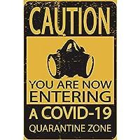 注意検疫ゾーンポスター金属錫看板壁の装飾-20x30cm