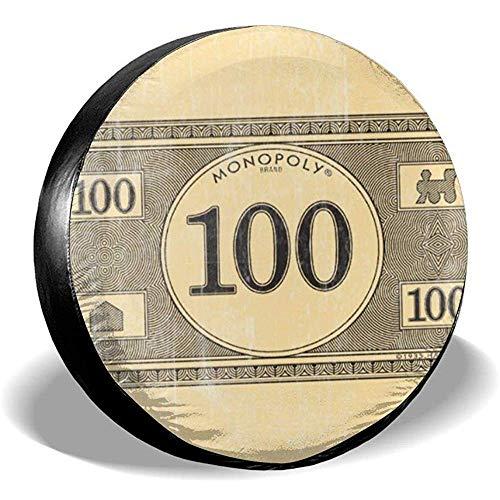 Niet van toepassing Wiel Tire Cover Monopolie Vintage 100 Dollar Bill Badmat Regendichte Zonnebrandcrème Wiel Tire Cover Tire Diameter Voor Suv Trailer Diverse Rv Voertuigen 15in/70~75cm 1 exemplaar