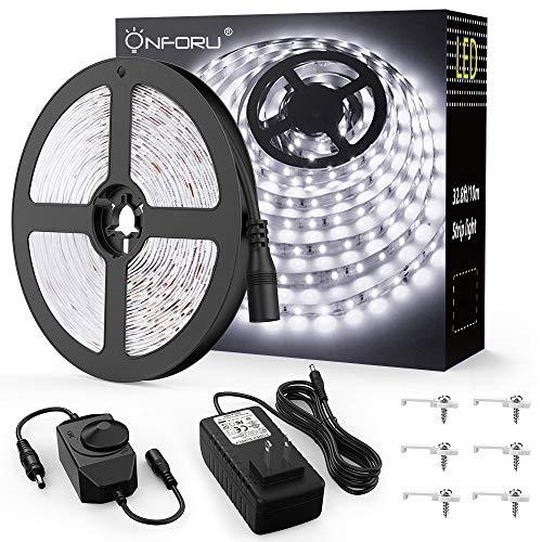 Onforu 33ft LED Strip Light, 10m Dimmable Tape Light, 5000K Daylight White Ribbon Light, 2835 LEDs 12V Flexible Strip Lighting for Mirror, Under Cabinet, Home, Kichen, Bedroom, Non-Waterproof