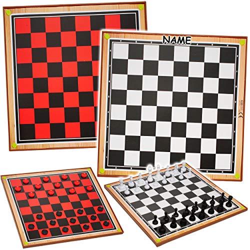 alles-meine.de GmbH 2 in 1: großes - XL Spiel - Schach + Dame - inkl. Name - 38 cm * 38 cm - große Figuren - Brettspiel - Schachspiel / Schachbrett - Schachfiguren - Damespiel - ..