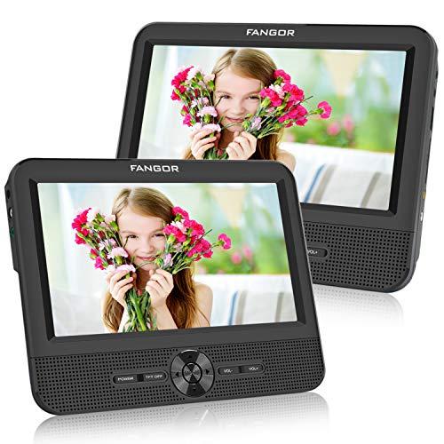 FANGOR - Lettore DVD portatile con poggiatesta da 7,5 pollici, lettore DVD con due schermi e batteria da 5 ore, sincronizzazione su entrambi i display (Host + Slave)