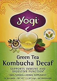 Yogi Tea Green Tea Kombucha Decaf, Herbal Supplement, Tea Bags, 16 ct
