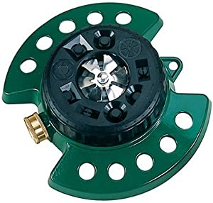Dramm Metal Base, Green 15024 ColorStorm 9-Pattern Turret Sprinkler with Heavy-Duty Meta
