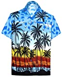 LA LEELA Men's Spread Collar Palm Tree Button Down Short Sleeve Hawaiian Shirt L Blue_W132
