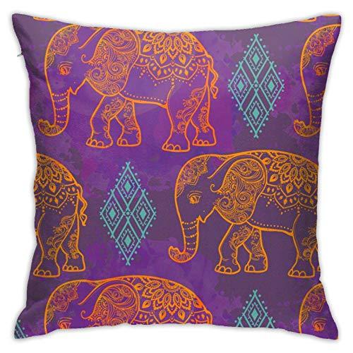 qimingshajinzhubaoshangxing Fundas de almohada, diseño de elefante cuadrado para sofá, coche, funda de cojín de 45 x 45 cm