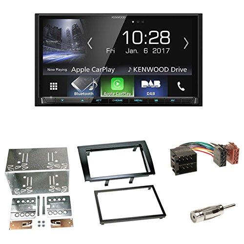 Radioeinbauset 2-DIN Radioblende in schwarz für Fiat Bravo (198) ab 04/2007-07/2014 + Kenwood DDX4016DAB (DAB+) DVD Receiver mit USB BT FSE iPhone