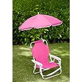 Set de silla de playa con sombrilla para niños, color rosa