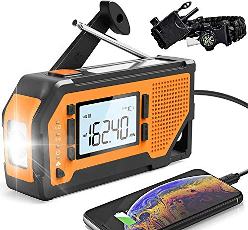 NOAA Emergency Weather Radio,Portable Solar Hand Crank AM/FM Radio 4 Power Sources Battery Powered with LED Flashlight LCD Screen SOS Alarm Survival Bracelet for Outdoor Emergency,2000 mAh Power Bank