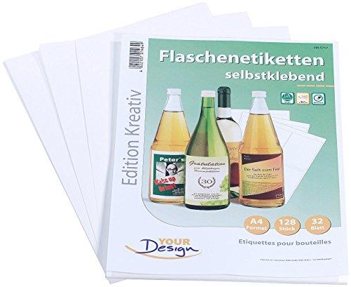 Your Design Etiketten wasserfest: 128 Inkjet-Flaschenetiketten 10x13 cm naturweiß/wischfest (Flaschenetiketten mit Banderole)