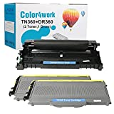 Color4work TN360 Toner Cartridge DR-360 Brother Drum Kit (1 Drum,2 Toner,3 Pack) High Yield Replacement for Brother DCP-7030 7040 HL-2170W HL 2140 HL-2150N MFC-7340 7840W 7440N 7345N Series Printer