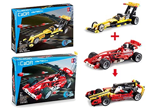 CaDA 3in1 Supersport-Rennwagen-Set, 295 Teile (kompatibel mit Lego Technic z.B. 42026, 42033) C52017W C52016W