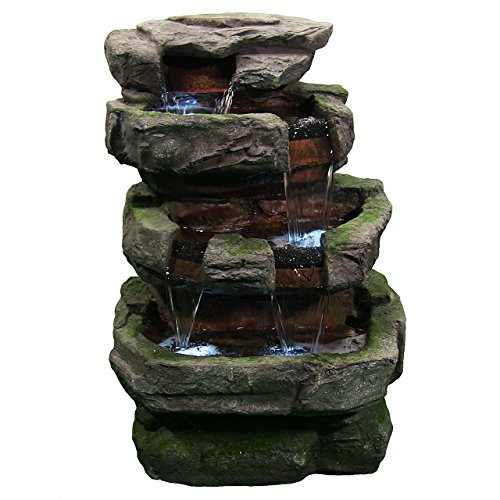 Sunnydaze Large Rock Quarry Outdoor Water Fountain - Rock Waterfall Fountain & Backyard Water Feature for Patio, Yard, Garden - 31 Inch Tall