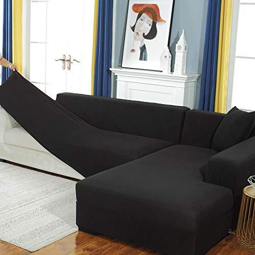 Youjoy Sofabezug,L-förmiges Ecksofa mit Elastische Stretch Sofabezug für 1/2/3/4 Sitzer(L-förmiges Ecksofa erfordert Zwei) (Schwarz, 3-Sitzer: 190-230 cm)