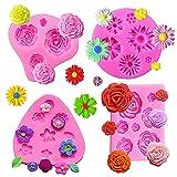 Moldes de Fondant de Pastel de Flores, FANDE Molde de Flores Rosas, 3d Molde de Silicona Flores de Rosa en Forma de Molde de Silicona Moldes, 4 Piezas