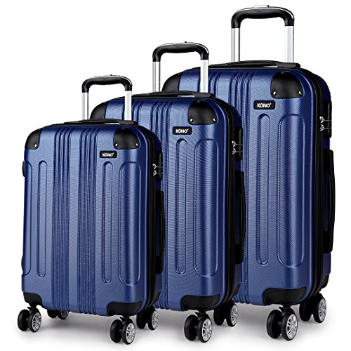 Kono 3 Piece Luggage Sets Light Weight ABS Hardshell 20' 24' 28' Size Suitcases (20'+24'+28', Navy)
