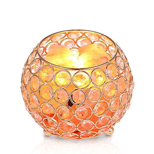 Lampe en Cristal de Sel de l'Himalaya,Tomshine AC220V 15W Lampe de sel, avec bouton de réglages d'intensité, Ion négatif Nuit Lumière,Support de douille E14, pour Chambre à Coucher, Bureau, Air Pur